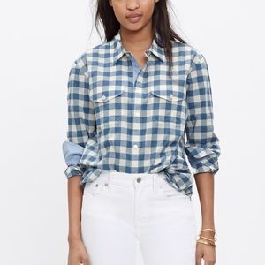 Madewell Blue and White Gingham Button Up Shirt
